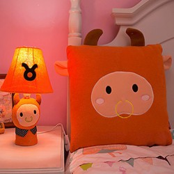 Taurus Bedside Cartoon Table Lamp,Cute Orange Cloth