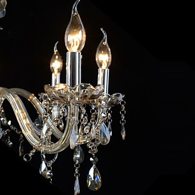 110V OR 220V 6 Lights Luxury Crystal Chandelier/Cognac Color/K9 Crystal Chandeliers Living Room / Bedroom