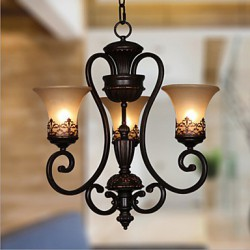 Max 60W Vintage / Country / Island Painting Metal Chandeliers / Flush Mount Living Room / Bedroom / Dining Room / Kids Room / Hallway