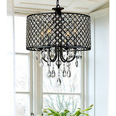 Max 60W Modern/Contemporary / Drum Crystal Chrome Chandeliers Living Room / Bedroom / Dining Room / Study Room/Office