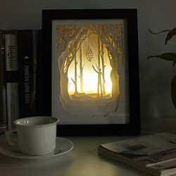 23*23*6CM Christmas Present Novel 3 D Sketch Paper Carving Lamp Creative Mural Frame Lamp Light Led