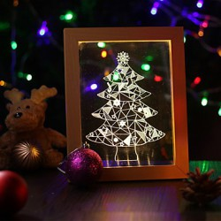 22*19*7.5CM 3 D Frame Wood Night Light Creative Gift Stereo Led Frame Light Christmas Gift Table Lamp Light Led