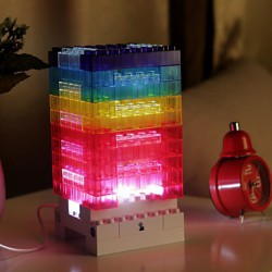 12*12*24CM Creative Diy Colorful Wood Blocks Concept Touch Small Night Light Lamp Light Led
