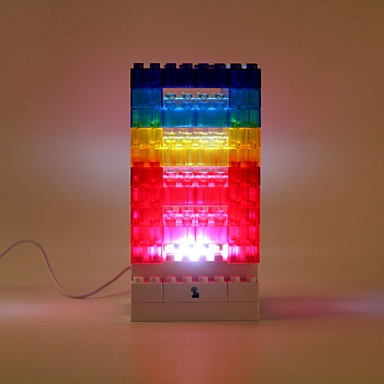 12 12 24cm Creative Diy Colorful Wood Blocks Concept Touch Small Night Light Lamp Light Led