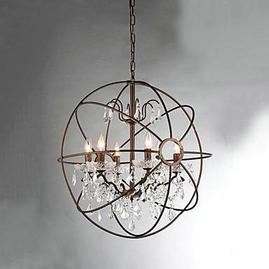 MAX:60W Vintage Crystal Painting Metal Chandeliers Bedroom / Dining Room / Entry / Hallway