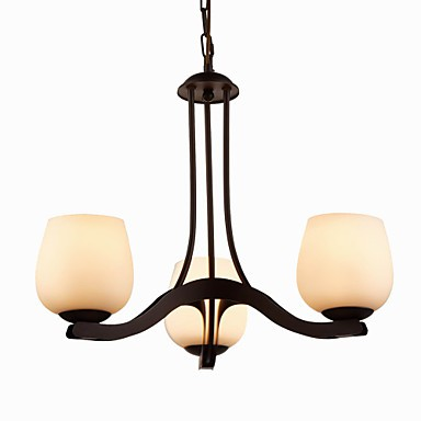Iron Painting Chandelier with Glass Shade Classic Lighting Lamp 3 Heads