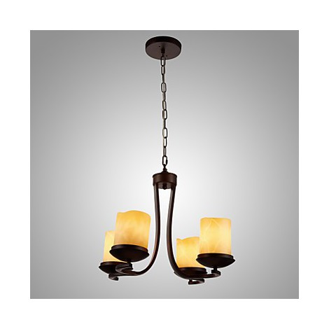 Iron Painting Chandelier With Glass Shade Classic Candle
