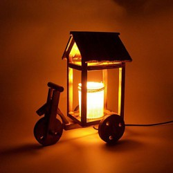 Valentine'S Day Creative Vintage Wooden Desk Lamp Gift Led Light